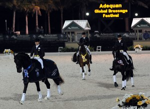 The 5-star Grand Prix freestyle wrapped up 12 weeks of international competition at the Adequan Global Dressage Festival in great style, as World Cup-bound Tina Konyot won with Calecto V, while Mikala Gundersen finished second on My Lady and Lars Petersen was third aboard Mariett (photo copyright 2014 by Nancy Jaffer)